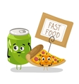Funny pizza slice and soda can cartoon character vector image vector image