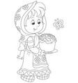 girl with an easter cake vector image vector image