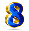 golden and blue number 8 isolated on white vector image vector image