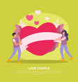 green love couple flat background vector image vector image