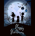 happy halloween party banner with kids silhouettes vector image vector image