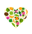 heart with tropical fruit pattern vector image vector image