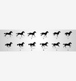 horse run cyle animation sprite sheet loop vector image vector image