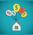 house is hanging on the balloons mortgages for vector image
