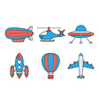 Icon set of aero vehicles Helicopter plane UFO vector image
