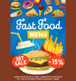 junkfood snacks fast food menu icons poster vector image