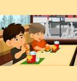 kids eating hamburger and fries vector image