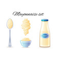 mayonnaise sauce mayo sauce bottle bowl spoon vector image vector image