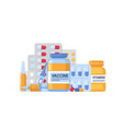medicine bottle and vial pills syringe vaccine vector image vector image