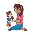 mom and kid with flower cartoon vector image vector image
