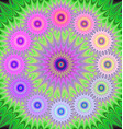 Multicolored fractal mandala background vector image