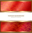 ornamental red frame with gold borders vector image