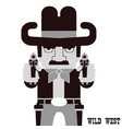 owboy aiming the guns american western man vector image vector image