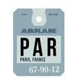paris airport luggage tag