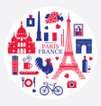 paris france landmarks and travel objects label vector image
