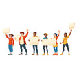 people strike angry men and women with placards vector image vector image