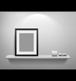 Photo frame on white shelf vector | Price: 3 Credits (USD $3)