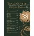price menu for coffee vector image vector image