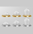 realistic glass domes on silver and golden base vector image vector image