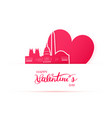 red heart and silhouette of washington city paper vector image vector image