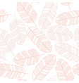 seamless pattern with pink leaves on white vector image vector image