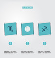 set of astronomy icons flat style symbols with vector image vector image