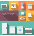 Set of kitchen appliances flat icons vector image