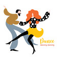 stylized figures dancing woman and man vector image vector image