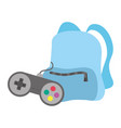 travel backpack and videogames control icon vector image