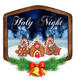 watercolor wooden frame with bells holy night vector image vector image