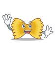waving farfalle pasta character cartoon vector image