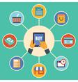 Flat design concept of e-commerce symbols vector image