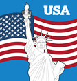 Statue of Liberty and American flag Symbol of vector image