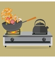 frying pan cooking stirred vegetable and meat on vector image