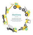 cartoon construction machinery banner card circle vector image