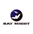bat silhouette and dark moon vector image vector image