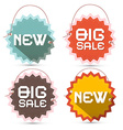 Big Sale and New Title on Toothed Labels with vector image