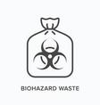 biohazard waste line icon outline vector image vector image