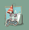 birthday gift and party hat soda bottle retro vector image vector image