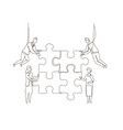 business team doing a puzzle - one line design vector image