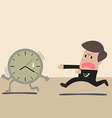Businessman chasing a time vector image vector image