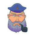 Cartoon Captain sailor face with Beard Cap and vector image