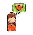 cartoon girl with bubble speech love hear message vector image