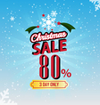 christmas sale 80 percent typographic background vector image vector image