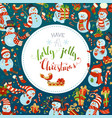 christmas snowmen background vector image vector image