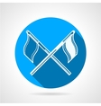 Crossed sport flags round icon vector image