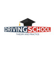 driving school logo auto education the rules of vector image