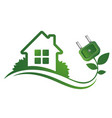eco house and electric plug vector image vector image