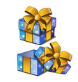 gift box with a golden bowknot with wrapped paper vector image