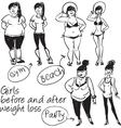 Girls before and after weight loss vector image